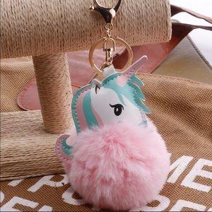 a2fc659494b210 Accessories - Pink Unicorn Puff Ball Keychain!